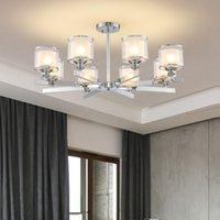 lustres modernes en métal et cristal achat en gros de-Lustre moderne en métal chromé led lustres éclairage salon en cristal led pendentif lustres lumières chambre lumières