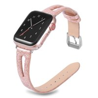 Wholesale bracelets silver glitter for sale - Group buy Shiny Glitter Real Genuine Leather Bling Band Wristwatch Bracelet Strap Belt for Apple Watch MM mm mm mm
