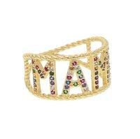 украшения для дня матери оптовых-золотой цвет мама кольца Радуга cz письмо Мама палец кольца элегантность горячие ювелирные изделия для женщин День рождения День матери подарки