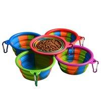 ganchos de comida al por mayor-Camuflaje Tazón para el perro con el gancho La silicona plegable cuencos para mascotas Comederos de comida al aire libre plegables Comederos para mascotas