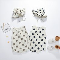 Wholesale baby polka dots hat resale online - INS Kids Baby Girls Jumpsuits Pure Cotton Great Quality Polka Dot Sleeveless Rompers Hats Summer Newborn Onesies Pieces Set Bodysuits