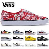 черное красное пламя оптовых-Vans Flames Оригинальные старые skool кроссовки черный синий красный Классические мужские женские холст кроссовки мода Cool Skateboarding повседневная обувь 36-44