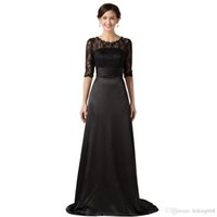 Wholesale mother pearl ship resale online - New Mother of The Bride Dresses with Lace Sleeves Brides Mother Dresses Evening Dress Pearls Floor Length Black Gown
