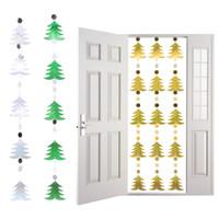 yeşil yılbaşı ağaçları toptan satış-1 ADET DIY Pullu Kapı Perdeleri Noel Şenlikli Parti Malzemeleri Noel Ağacı Kar Taneleri Sequins Bırak Süsler Ev Dekorasyon