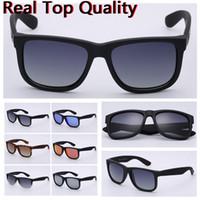 limpador de lentes para óculos venda por atacado-designer óculos de sol top quality justin lentes uv400 óculos de sol com estojo de couro, pano limpo, acessórios, acessórios de varejo!