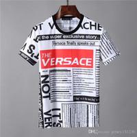 pamuklu özel toptan satış-2019 Lüks Yeni Moda Tasarımcısı Giysi Avrupa İtalya Işbirliği Roma Özel Baskı Tshirt Erkek Kadın T Gömlek Casual Pamuk Tee Üst