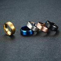 design de anel casal negro venda por atacado-2019 Simple Design Esmalte Anel Personalizado 8mm Preto / Prata / Ouro / Azul / Rosegold Gloss Titanium Anéis Jóias Para Mulheres Dos Homens casal Tamanho 6-13