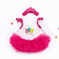 tres alas al por mayor-Bebé Vestido de Pascua Traje Tres artículos Manga larga Rosa Roja Alas Sombrero de cuello redondo Carta de dibujos animados Malla 1