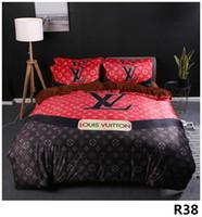 edredones 3d para camas al por mayor-Queen Bed Edredones Conjuntos de ropa de cama de diseñador Funda de edredón Traje de 4 piezas Modelos de explosión CAMAS de cristal grueso Impresión digital Cama 2.0M38