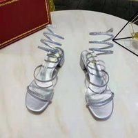 Wholesale gold snake heels online - Chunky Heel Sandals Women Party Wedding Sandals Luxury Summer Crystals Shoes Women Strappy Open Toe Sandal Snake Wrap Style