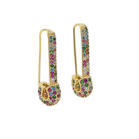 Wholesale bright color earring for sale - Group buy gold plated safety pin stud earring fashionable jewelry micro paved rainbow bright color trendy ear wire latest new design