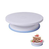 döner tezgahlar toptan satış-Plastik Kek Döner Masa DIY Pişirme Aracı Kek Standı Turntable Döner Kek Dekorasyon Pişirme Aracı 7 * 28 Cm 10 Inç