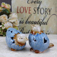 jingdezhen ornaments großhandel-Dekoration Keramik chinesische Ornamente Handwerk Ornamente blauen und weißen Porzellan Paare zu Vögeln Tierkeramik Jingdezhen Porzellan