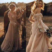 Wholesale charm wedding dresses for sale - Group buy Charming Lace Spring V Neck Garden Wedding Dresses Boho Bohemian Long Sleeve Sheer Arabic Plus Size vestido de noiva Bridal Gown Ball Bride