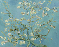 pintura a óleo paisagem castelo venda por atacado-Pintados à mão pintura de óleo reproduções Amêndoa Blossom Tree, 1890 por Vincent Van Gogh Pintura de arte flor para decoração de sala de jantar