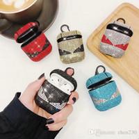 bolsa de design venda por atacado-Para airpods marca design strass capa protetora gancho fecho keychain anti perdido moda fone de ouvido caso protetor bolsa