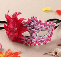 Wholesale lace leather mask resale online - New Venice mask lace water drill leather mask Lily princess with flower mask WL474