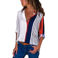 ingrosso ragazza di moda di blusas-Inverno donna t-shrits stripe ragazza abbigliamento moda Donna Casual manica lunga Color Block Stripe Button Magliette Top girl blusas