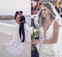 sirena trompeta floral al por mayor-Vestido de novia nupcial de Steven Khalil Garden Vestido de novia nupcial con encaje con cuello en V y apliques de encaje 3D