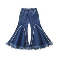 Wholesale legging pockets resale online - Baby Girls Flare Jeans Kids Splice Tassel Denim Pants Kids Casual Clothes Girls Elastic Pocket Pants Casual Trousers T
