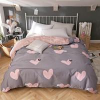 ingrosso doppio letto rosa della principessa-Principessa stile Set biancheria da letto rosa amore copripiumino copripiumino confortevole tessili per la casa doppia pieno regina king size Buona qualità