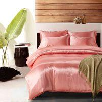 fundas de almohada moradas blancas al por mayor-Juego de funda nórdica de 3/4 piezas Juego de cama de seda satinada con fundas de almohada de funda nórdica rosa / negro / blanco / azul / púrpura / gris / camel