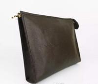 ingrosso sacchetto di plaid genuino-Nuova borsa da toilette da viaggio 26 cm frizione trucco protettivo da donna in vera pelle impermeabile 19 cm borse cosmetiche per le donne + sacchetto per la polvere