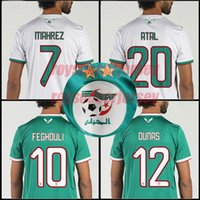 aaa maillots de football de qualité achat en gros de-Maillots de football Algeria TOP QUALITY 2019 Africa Coupe d'Algérie MAHREZ FEGHOULI ATAL BRAHIMI maillots de football 19 20 maillot de foot en Algérie kits enfants
