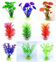 ingrosso piante acquari artificiali-30 disegni acquario artificiale piante arredamento acquario serbatoio di plastica artificiale pianta colori assortiti falso acquario decorazioni