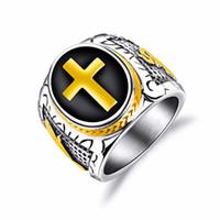 ingrosso gioielli per timbri-Punk Cross Biker Ring per uomo con acciaio inossidabile Stainles nero colore oro timbro dito banda gioielli regalo di Natale GJ603