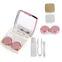 mode kontakte linsen groihandel-Objektiv Box Mode Tragbare Reise Kontaktlinse Aufbewahrungsspiegel Container Halter Mehrzweck Wimpern Container