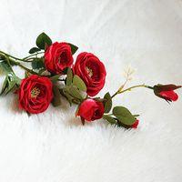 weiße rose gefälschte blumen großhandel-Tee Rose Weiß Rot Künstliche Blumen Hochzeit Fotografie Romantische Gefälschte Blume Mode Einfache Dekoration Heißer Verkauf 6 6mtD1