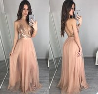Wholesale party gown pictures for sale - Group buy Unique Rose Gold Sequins Prom Dresses Sexy Deep V Neck Backless Prom Dress Vestidos Cheap Evening Party Gowns