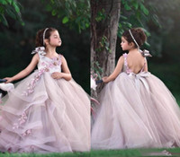 Wholesale tulle kids resale online - Romatic Flower Girls Dresses For Wedding With Tulle Ruffle Princess Girls Pageant dresses Kid Formal Wears