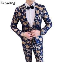 yeni tasarım erkek blazer toptan satış-2018 Yeni Altın yaprak baskı tasarım Tasarımlar Erkekler Için Kraliyet Mavi Düğün Takım Elbise Slim fit Özel Damat Balo 2 Parça Blazer Ceket + Pantolon