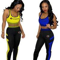 pantolon yelek takımları toptan satış-Kadınlar Şampiyonu Eşofman Harf Nakış Askılar Mahsul Tankı Pantolon 2adet Seti Kadınlar Spor Yelek Pantolon koşucu Giyim A42906 Tops