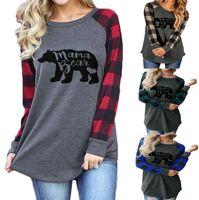 ördek kazak hoodie toptan satış-Kadın Mama Ayı Hoodie 4 Renkler Ekose Patchwork Mektup Baskılı Tişörtü Yuvarlak Boyun Rahat LJJO7139 Tops