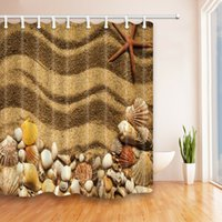 Wholesale sea shells accessories for sale – best Sea Shell Starfish Beach Shower curtain Durable Fabric Mildew Bathroom Accessories Creative with Hooks X180CM