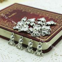 antik ayı kolye toptan satış-100 adet / grup Antik Gümüş Güzel Teddy Bear Kolye Charms Mücevherat Bulguları 10 * 16mm Fit Vintage Metal Takı Kolye D0158