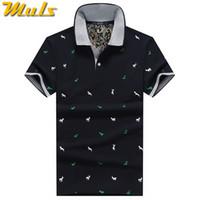 chemises en polka dot blanc achat en gros de-Été Mens Polo Shirt Coton Polka Dot Court Homme Polo Hommes Top Tee Séchage Rapide Taille M -3xl Muls Marque De Mode Noir Blanc Grey1613