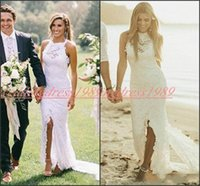 Wholesale sheath romantic wedding dresses for sale - Group buy Romantic Front Split Lace Sheath Wedding Dresses Bride Mermaid Garden Spring Crew Bridal Gowns Vestido Sleeveless marriage For Bride