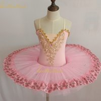chicas trajes de baile de oro al por mayor-Pink / purple / blue Ballet Dress Tutu Ballet Girls Dance Dress Gold Lace Ballerina Diamond Disfraz de rendimiento profesional