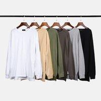 camiseta delantera corta al por mayor-2019 Otoño algodón camiseta Hombres / mujeres Camiseta Frente Corto Parte posterior larga Hip Hop Camiseta Manga larga Camisetas extendidas