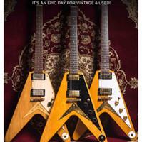 uçan v beyaz gitar toptan satış-Özel Mağazalar Uçan V Miras Doğal Korina 1983 Elektro Gitar Beyaz Pickguard, Küçük Pin ABR 1 Köprü (Vücut Dize), Altın Donanım