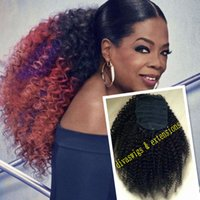 Wholesale ombre brazilian clip hair extensions resale online - 10A Two tone Oprah Afro kinky curly drawstring ponytail extension RAW virgin human clip in kinky curly ombre b red ponytail hairpiece g