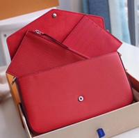 bolsas de patentes de diseñador al por mayor-Bolsos de diseño de lujo Pipple Emboss Printing Flowers 3 en 1 Bolso de cadena Charol Card Wallet Card Crossbody Monedero Hombro Messenger Handbag