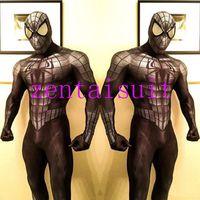 ingrosso costumi da supereroe del capretto di zentai-vestito zentai nero spiderman supereroe costume cosplay halloween fullbody maschio spider-man supereroe costumi zentai vestito per adulti / bambini