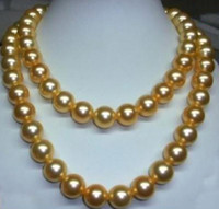 Wholesale 35 inch south sea pearls for sale - Group buy 35 Inch Beaded Necklaces mm South Sea Golden Pearl Necklace K Gold Clasp