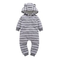 Wholesale infant boys rompers gray resale online - Infant baby boys clothes casual Unisex newborn baby rompers Fleece stripe long sleeve hooded one piece clothing Overalls gray