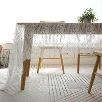 ingrosso tavolini bianchi-Tovaglia in pizzo floreale Tovaglia traslucida per tè e caffè Striscia bianca Moda Art Bar Tovaglia